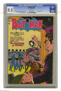 Batman #85 (DC, 1954) CGC VF+ 8.5 White pages. In this wild Batman issue, mistaken identities rule the day! As seen on S...