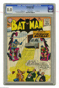 """Silver Age (1956-1969):Superhero, Batman #120 (DC, 1958) CGC VF 8.0 Off-white pages. First appearance of the Dynamic Duo's hovering """"Whirly-Bats."""" Curt Swan c..."""