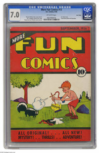 More Fun Comics #13 Lost Valley pedigree (DC, 1936) CGC FN/VF 7.0 Off-white pages. This is an early issue of DC's first-...