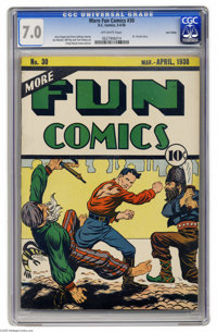 More Fun Comics #30 Lost Valley pedigree (DC, 1938) CGC FN/VF 7.0 Off-white pages. This was the first non-funny cover in...