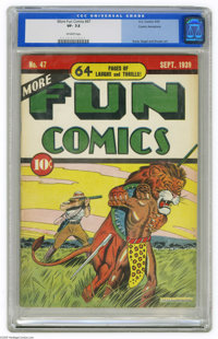 More Fun Comics #47 Cosmic Aeroplane pedigree (DC, 1939) CGC VF- 7.5 Off-white pages. This unusually colorful cover was...