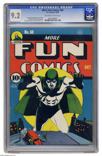 More Fun Comics #60 (DC, 1940) CGC NM- 9.2 Off-white to white pages. The Spectre has never looked more fearsome than on...