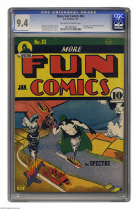 More Fun Comics #63 (DC, 1941) CGC NM 9.4 Off-white to white pages. The awesome power of the Spectre is on display on th...