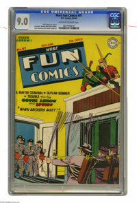 More Fun Comics #97 (DC, 1944) CGC VF/NM 9.0 Off-white to white pages. Finally, a true challenge for Green Arrow -- some...