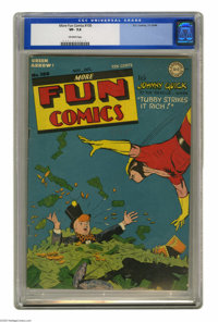 More Fun Comics #100 (DC, 1944) CGC VF- 7.5 Off-white pages. Since when does a guy swimming in money need rescuing? At a...