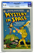 Golden Age (1938-1955):Science Fiction, Mystery in Space #8 (DC, 1952) CGC VF/NM 9.0 Off-white to whitepages. Carmine Infantino created a doozy of a cover for this...