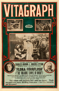 "Flora Fourflush (Vitagraph, 1914). One Sheet (27"" X 41.5"") Part 2-- ""The Treasure Temple of Bhosh.""..."