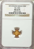 1874 50C Indian Round 50 Cents, BG-1055, High R.4, MS64 Prooflike NGC. NGC Census: (9/1). PCGS Population: (0/0)....(PCG...