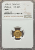 Colombia, Colombia: Republic gold Peso 1872 MS63 NGC,...