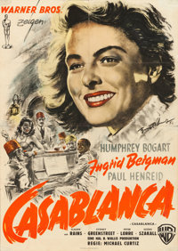"Casablanca (Warner Brothers, 1952). First Post-War Release German A1 (23.5"" X 33"") Hans Otto Wendt Artwork..."