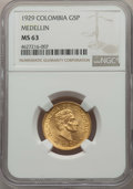 Colombia, Colombia: Republic gold 5 Pesos 1929 MS63 NGC,...