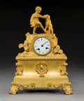Clocks & Mechanical:Clocks, A French Second Empire Gilt Bronze Figural Mantle Clock, circa 1870. Marks to movement: MIGNON, PARIS. 16 h x 11-1/4 w x...