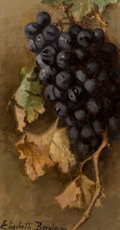 Paintings, Elizabeth Borglum (American, 1848-1922). Still Life with Grapes. Oil on canvas. 11-1/2 x 6 inches (29.2 x 15.2 cm). Sign...