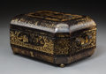 Asian:Chinese, A Chinese Export Lacquered and Gilt Decorated Tea Caddy, 19thcentury. 5-3/4 x 11-1/4 x 8 inches (14.6 x 28.6 x 20.3 cm) . ...