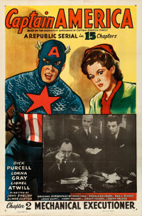 "Captain America (Republic, 1944). One Sheet (27"" X 41"") Chapter 2 -- ""The Mechanical Executioner.""..."