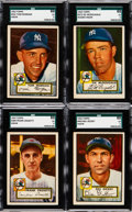 Baseball Cards:Singles (1950-1959), 1952 Topps Baseball High Numbers - New York Yankees SGC 60 EX 5Collection (4). ... (Total: 4 items)