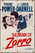 "Movie Posters:Swashbuckler, The Mark of Zorro (20th Century Fox, R-1958). One Sheet (27"" X41""). Swashbuckler.. ..."