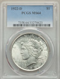 Peace Dollars: , 1922-D $1 MS64 PCGS. PCGS Population: (3781/1571). NGC Census: (2910/1138). CDN: $100 Whsle. Bid for NGC/PCGS MS64. Mintage...