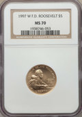 Modern Issues, 1997-W $5 Franklin D. Roosevelt Gold Five Dollar MS70 NGC. NGC Census: (482). PCGS Population: (241)....