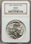 Modern Issues, 2001-D $1 Buffalo Silver Dollar MS69 NGC. NGC Census: (13069/2029). PCGS Population: (15195/1663). ...