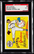 Autographs:Sports Cards, Signed 1967 Laughlin Carl Hubbell #34 SGC Authentic....