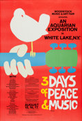 Music Memorabilia:Posters, Woodstock Music Festival Poster And Ticket (1969).... (Total: 2 Items)