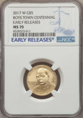 Modern Issues, 2017-W $5 Boys Town Centennial Gold Five Dollar, Early Releases, MS70 NGC. NGC Census: (0). PCGS Population: (0)....