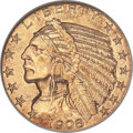 Indian Half Eagles, 1908-S $5 MS62 NGC. CAC....