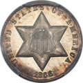 Three Cent Silver, 1866 3CS MS66 PCGS Secure....