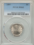 Liberty Nickels: , 1897 5C MS63 PCGS. PCGS Population: (189/348). NGC Census: (109/221). CDN: $125 Whsle. Bid for problem-free NGC/PCGS MS63. ...