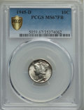 Mercury Dimes: , 1945-D 10C MS67 Full Bands PCGS Secure. PCGS Population: (345/6 and 20/0+). NGC Census: (372/12 and 6/0+). CDN: $170 Whsle....