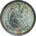 Seated Half Dimes, 1837 H10C No Stars, Large Date (Curl Top 1) MS66 ★ NGC. V-1....