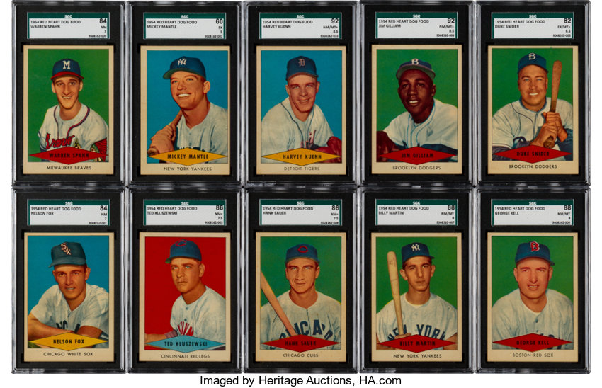 1954 Red Heart Dog Food Complete Set 33 Baseball Cards