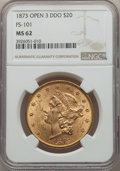 Liberty Double Eagles, 1873 $20 Open 3, Doubled Die Obverse, FS-101, MS62 NGC. NGC Census: (46/11). PCGS Population: (112/9). MS62. ...