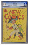 Golden Age (1938-1955):Humor, New Comics #4 (DC, 1936) CGC NM- 9.2 Off-white to white pages. We were wowed by the sight of a Platinum Age book in CGC 9.2 ...