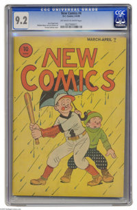 New Comics #4 (DC, 1936) CGC NM- 9.2 Off-white to white pages. We were wowed by the sight of a Platinum Age book in CGC...