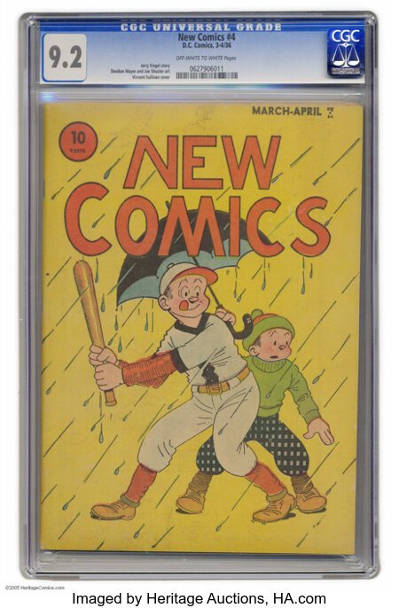 New Comics #4 (DC, 1936) CGC NM- 9.2 Off-white to white pages. We were wowed by the sight of a Platinum Age book in CGC 9.2 ...