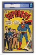 Golden Age (1938-1955):Superhero, Superboy #1 (DC, 1949) CGC VF/NM 9.0 Cream to off-white pages. Here's the issue that started off a thirty-year run for this ...