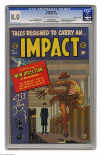Impact #1 Gaines File pedigree 6/12 (EC, 1955) CGC VF 8.0 Off-white to white pages. Though Jack Davis' cover is a striki...