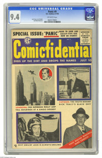 Panic #9 (EC, 1955) CGC NM 9.4 Off-white pages. The Panic crew followed up this issue's fake scandal-sheet cover showing...