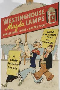 Popeye Westinghouse Mazda Lamps Advertising Display Sign (Westinghouse Lamp Co., 1934). Popeye, OIive Oyl, and Wimpy are...