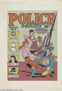 Gill Fox - Police Comics #1 Cover Color Printer's Proof Original Art (Quality Comics, 1941). Premiering in the fall of 1...