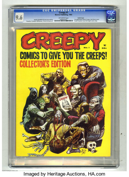 Creepy #1 Pacific Coast pedigree (Warren, 1964) CGC NM+ 9.6 Off-white pages. Warren Publishing's concept for its first full-...