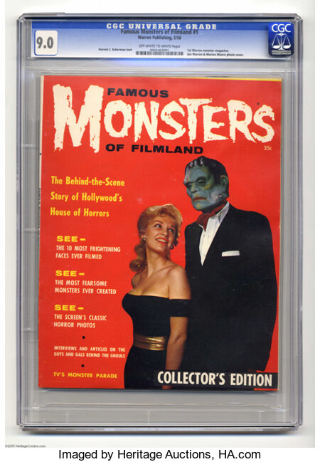 Famous Monsters of Filmland #1 (Warren, 1958) CGC VF/NM 9.0 Off-white to white pages. This copy is tied for the highest grad...