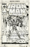 Original Comic Art:Covers, Mark Bright and Bob Layton - Iron Man #222 Cover Original Art (Marvel, 1987). The power of Iron Man is exalted on this sensa...