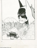 Original Comic Art:Splash Pages, Pat Broderick - Batman Splash Page Original Art (DC, undated). PatBroderick's moody montage of the Cowled Crusader patrolli...
