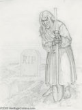 Original Comic Art:Sketches, Johnny Craig - Vault Keeper Sketch Original Art (undated). Don't ask the Crypt Keeper who he's dug this fresh grave for, gho...