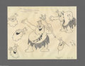 Original Comic Art:Miscellaneous, Walt Disney Studios - King Neptune Model Sheet Original Art (circa1932). The King of the Sea becomes enraged when lustful p...