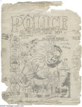 Original Comic Art:Sketches, Gill Fox - Police Comics #11 Preliminary Cover Sketch Original Art (Quality Comics, 1942). Plastic Man sprang from a test tu...