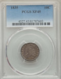 Bust Dimes: , 1835 10C XF45 PCGS. PCGS Population: (112/437). NGC Census:(28/386). XF45. Mintage 1,410,000. ...